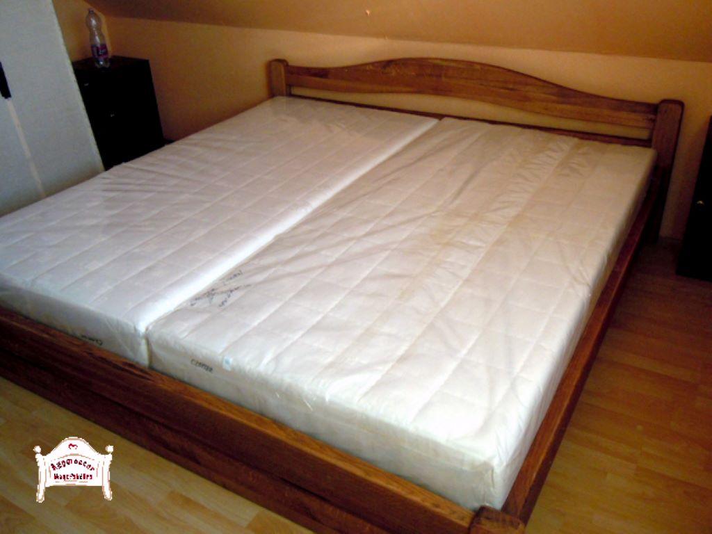 Hálószoba ágy pácolt tömörfa 140x200 180x200