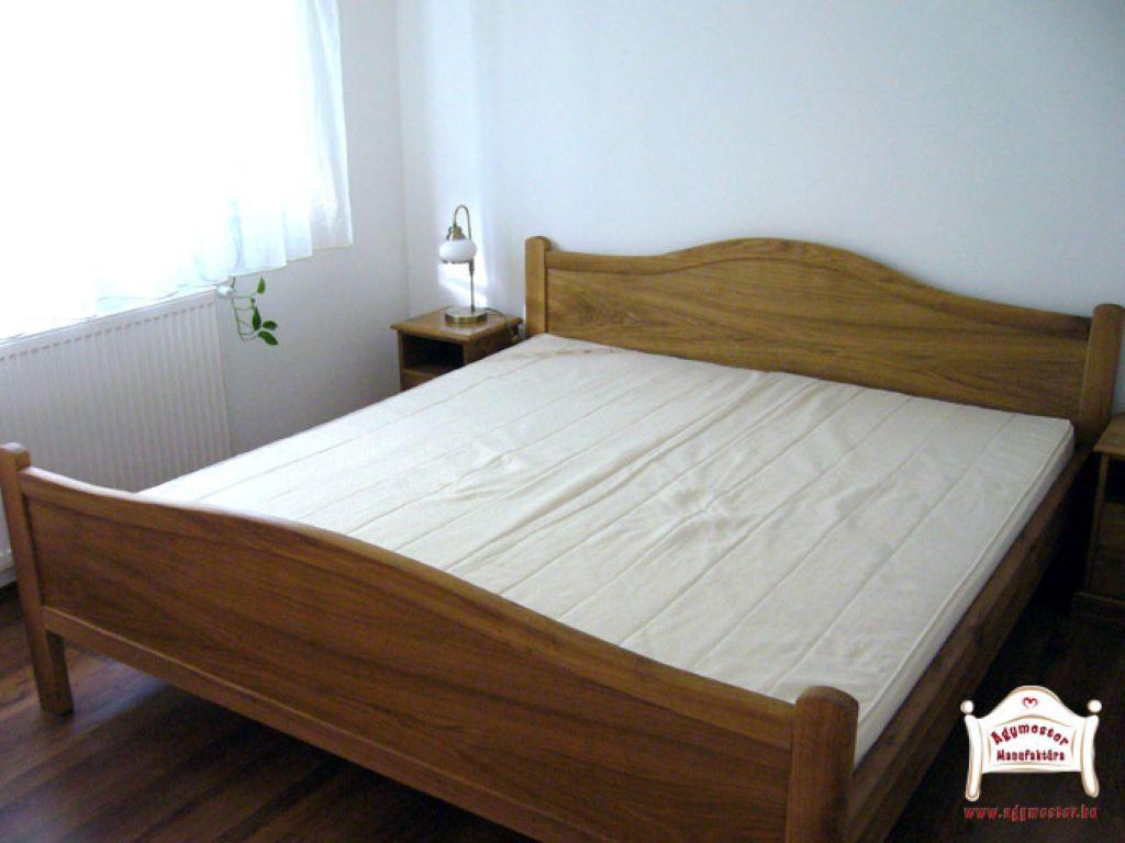 Hálószoba ágy pácolt tömörfa 140x200