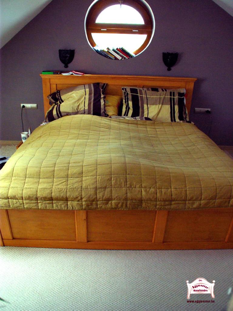 Juharfa kétszemélyes ágy ágyneműtartós egyedi kivitel 180x200