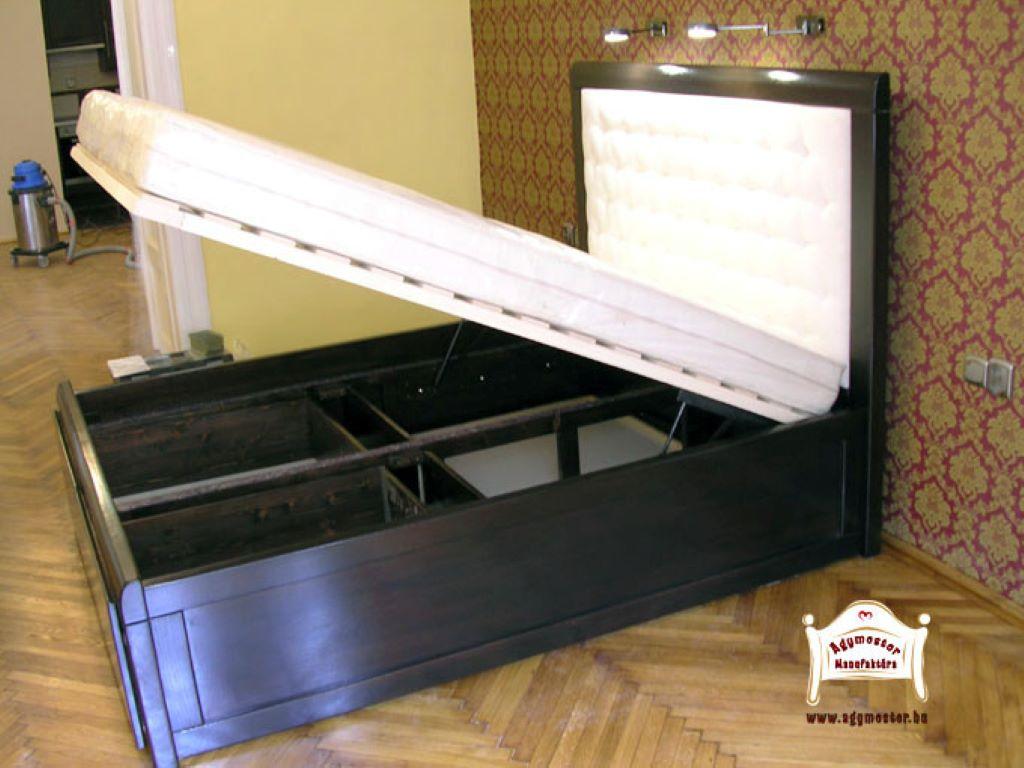Beépített ágyneműtartós tömörfa ágy, kárpitos, gázrugós szerkezettel 140x200 160x200 180x200 200x200