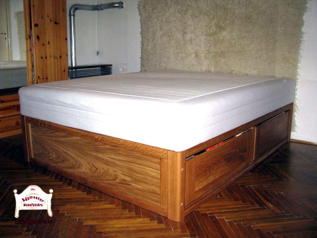 Fiókos ágyneműtartós franciaágy keményfából 160x200