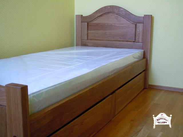 Kétfiókos felnőtt ágy matraccal, pácolva