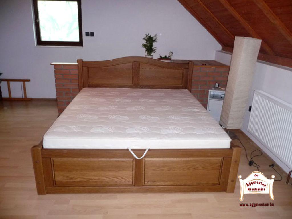 Zárt ágyneműtartós ágy tömörfa 160x200 180x200 egyedi méret