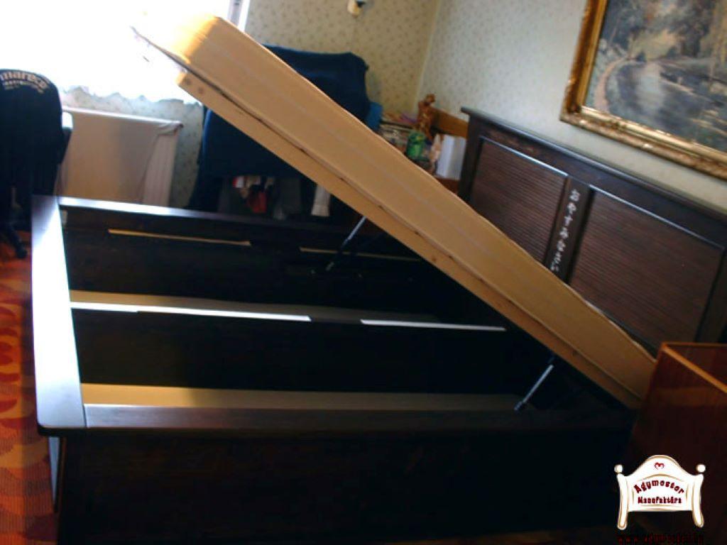 Gázrugós ágyneműtartós ágy 180x200 160x200 egyedi méretben tömör fából